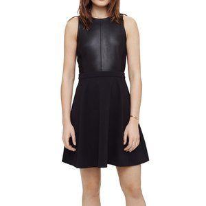Club Monaco Darla Black Leather Skater Flare Dress